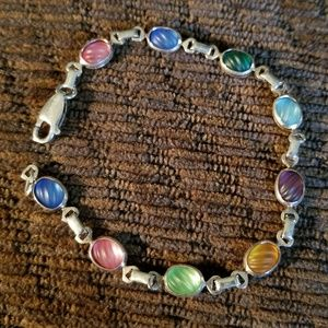Beautiful Silver Bracelet with Multi Colored Stone